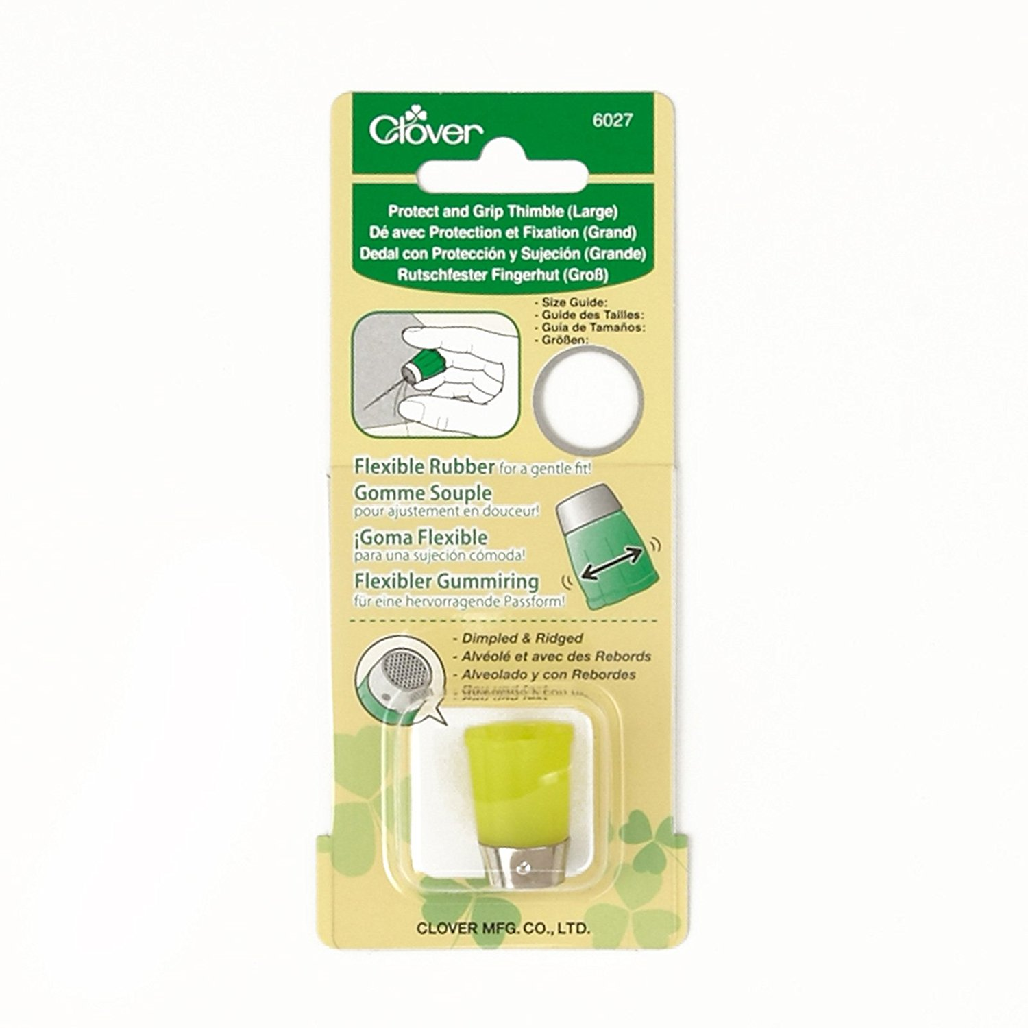 Protect & Grip Thimble Large, From Clover this flexible rubber thimble gently fits your finger and features a dimpled and ridged metal tip that is perfect for hand.., By Clover