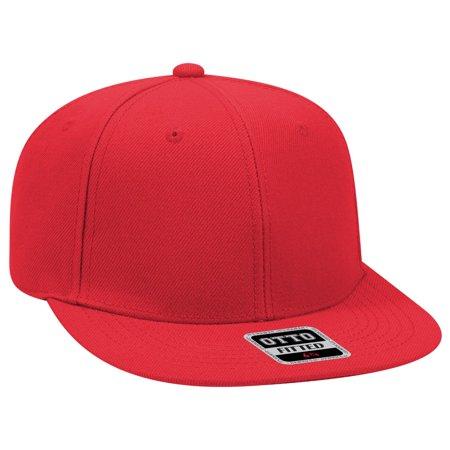 otto fit wool blend twill round flat visor 6 panel pro style baseball cap - navy