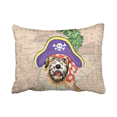 WinHome Cute Vintage Popular Happy Halloween Watercolor Dog Pirate And Map Polyester 20 x 30 Inch Rectangle Throw Pillow Covers With Hidden Zipper Home Sofa Cushion Decorative Pillowcases - Halloween Map Open
