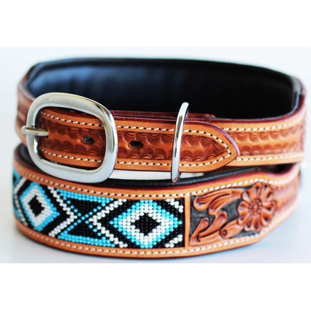 Amish Hand Tooled 100% Cow Leather Canine Puppy Dog Collar Soft Adjustable