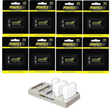 Powerex MH-C1090F Pro 10-Bank Rapid NiMH Battery Charger Bundle with Included 9.6V Batteries [Multiple Battery Quantity Options]