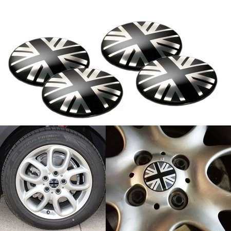 Xotic Tech 4 Pieces Black/Grey Union Jack UK Flag Style Wheel Center Cap Covers For MINI Coopers