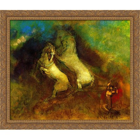 Apollo's Chariot 32x28 Large Gold Ornate Wood Framed Canvas Art by Odilon Redon