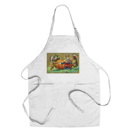A Joyous Thanksgiving Scene of Kids Dancing Around Pumpkin (Cotton/Polyester Chef's Apron) (Thanksgiving Scenes)