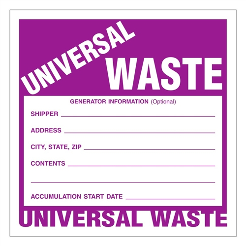 """UNIVERSAL WASTE"" 6"" x 6"" Industrial Labels, Paper - Pack of 100"
