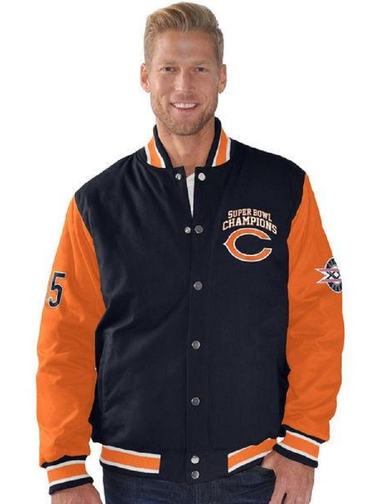 Chicago Bears Super Bowl Champions Cotton Canvas Button up Jacket by G-III Sports