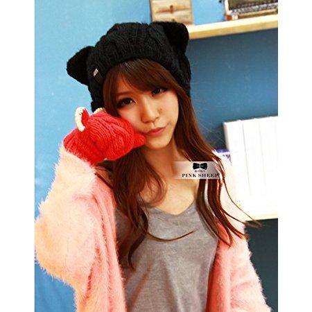 LanLan Women's Devil Horns Cat Ear Beanie Crochet Braided Knit Ski Wool Hat Cap Balck (Devil Ears)