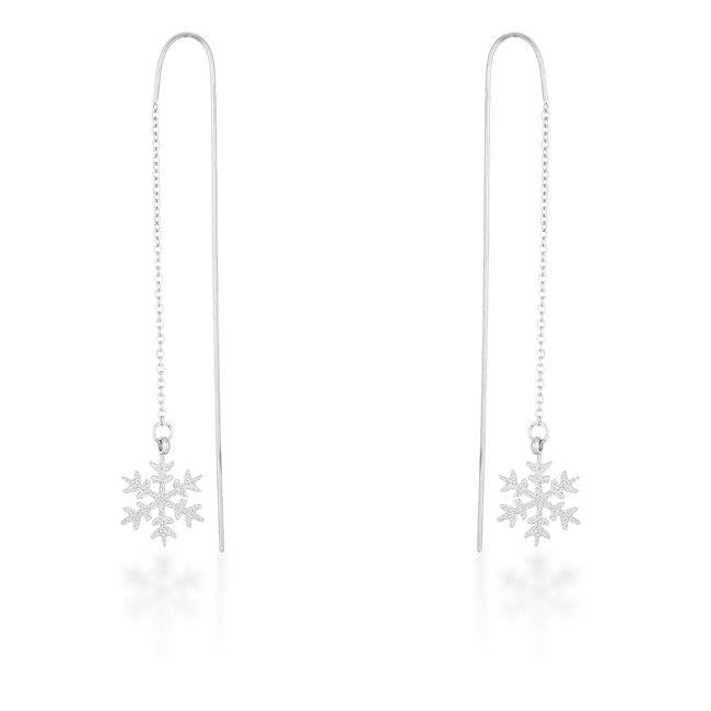 Womens Noelle White Gold Rhodium Stainless Steel Snowflake Threaded Drop Earrings - image 1 de 1