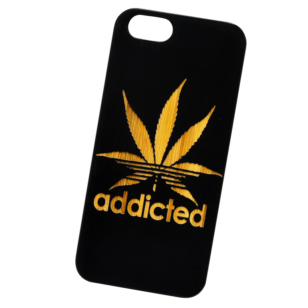 Addicted Marijuana | Laser Engraved Real Bamboo Cellphone Case Natural Protection PC Rubberized Corners For iPhone 5C