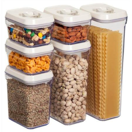6-Pc Air-Lock Lid Storage Jar Set in White