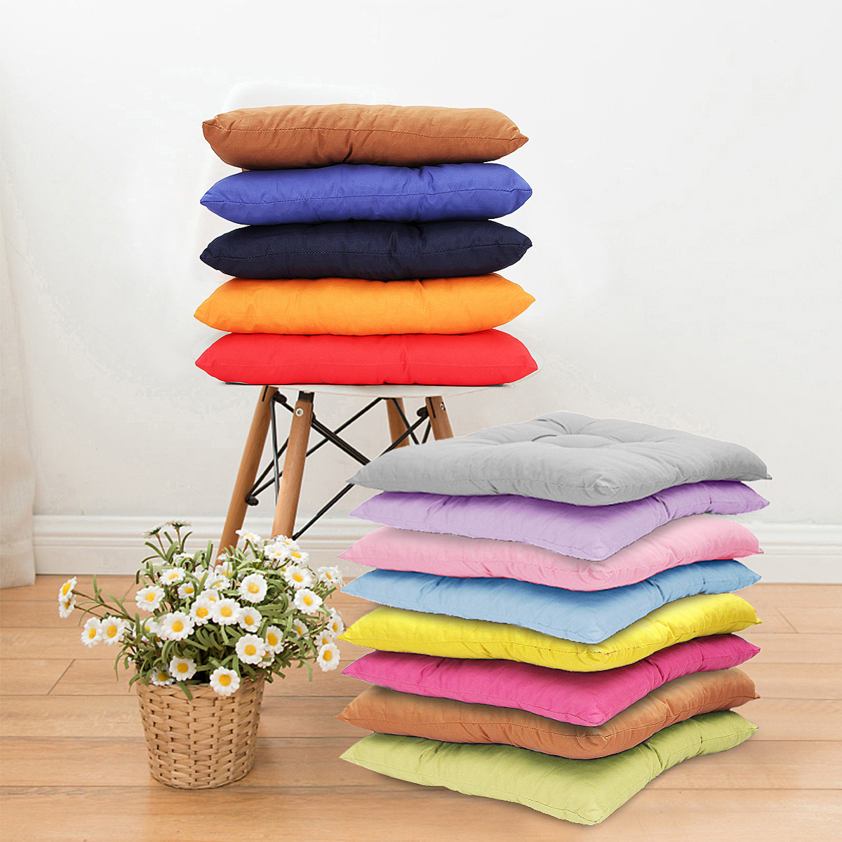 15.8*15.8inch Soft Square Cotton Chair Seat Cushion Pillow Mat Pads Buttocks for Kitchen Chairs Home Office Decor