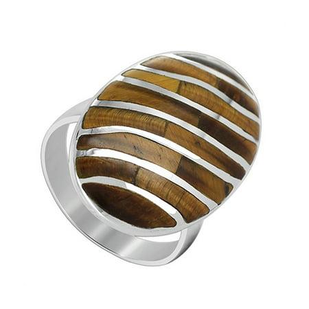 Gem Avenue 925 Sterling Silver Oval Shape Tiger Eye Stripes Design Ring