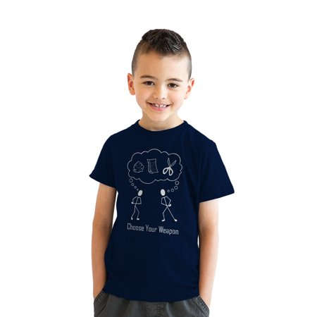 Youth Choose Your Weapon T-Shirt Rock Paper Scissors Shirt for Kids
