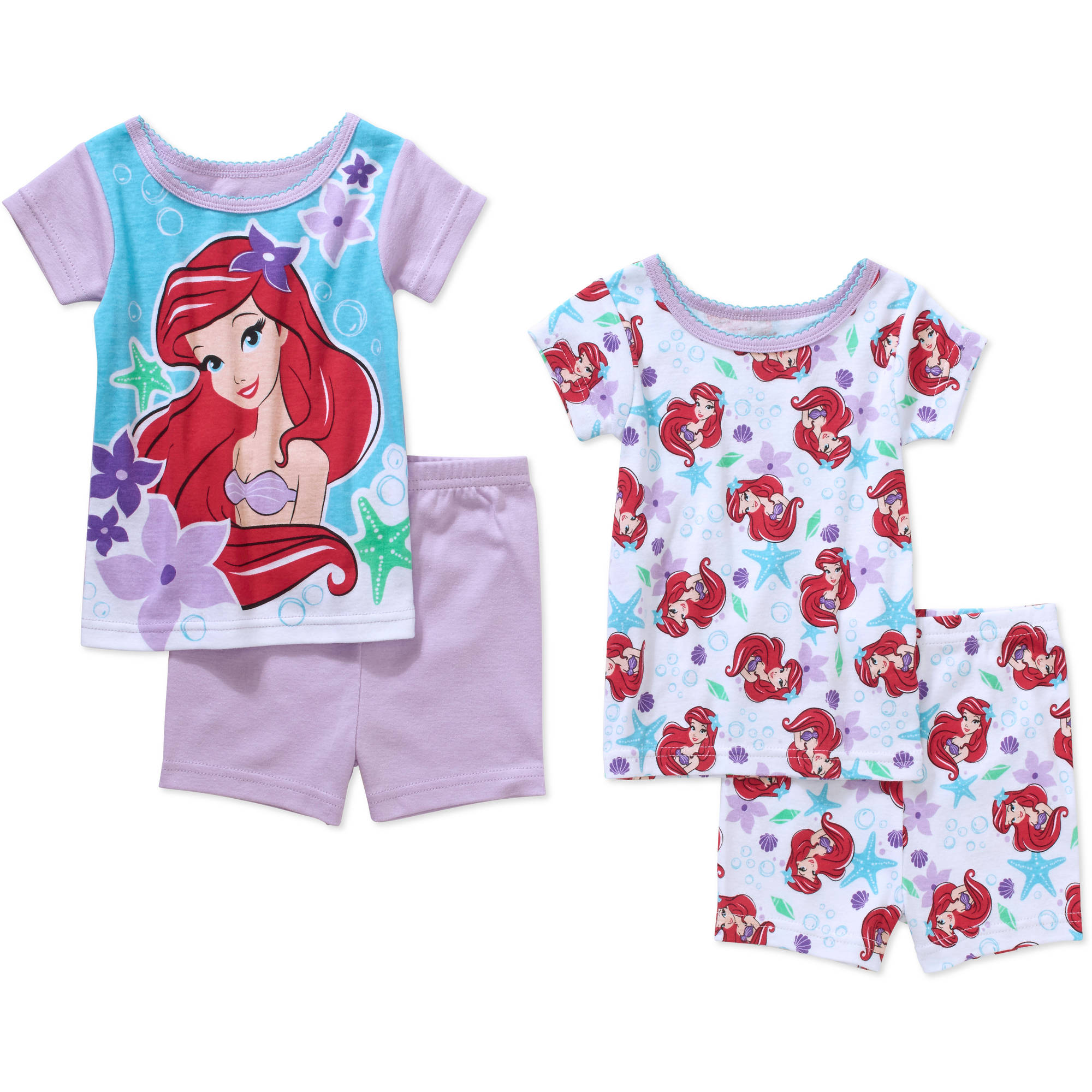 Little Mermaid Ariel Infant Baby Girl' Mix n' Match Short Sleeve Cotton Tight Fit Pajamas, 4-Pieces