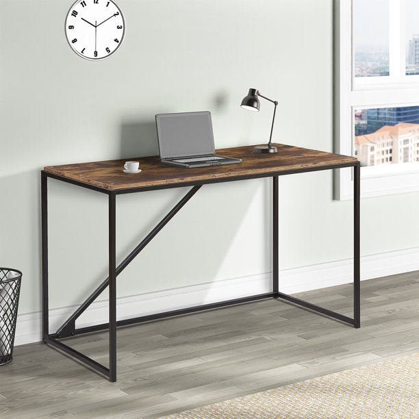 Home Office 46 Inch Computer Desk Study Desk Metal Frame Modern Simple Laptop Table Easy Assembly Walmart Com Walmart Com