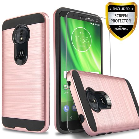Moto G7 Case, 2-Piece Style Hybrid Shockproof Hard Case Cover with [Tempered Glass Screen Protector] And Circlemalls Stylus Pen [Rose Gold]