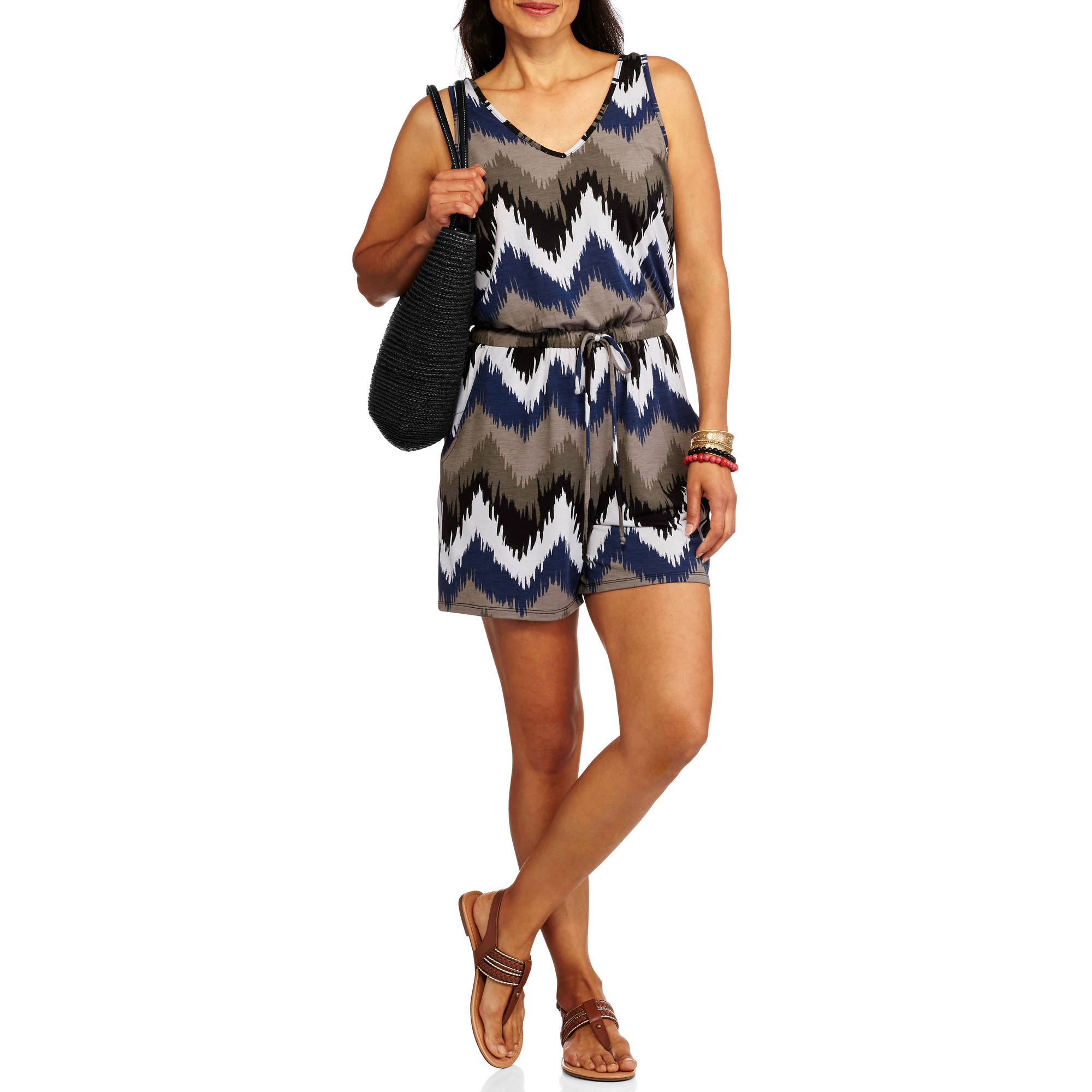 Allison Brittney Women's V-neck Blouson Short Printed Romper