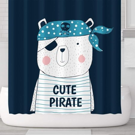 - Vinyl Boutique Shop Cute Pirate Bear Waterproof Shower Curtains with Hooks 71''x71''