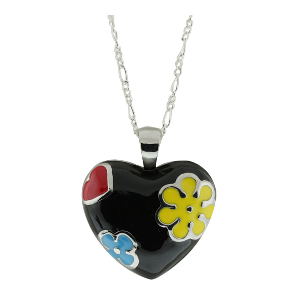 "Huge 42.00 Grams Multi-Color Enamel Heart Shape Pendant  with 18"" Chain"