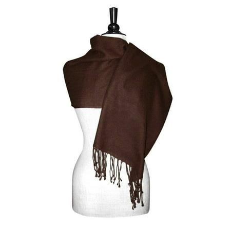 Biagio 100% Wool Pashmina Solid Scarf Chocolate Brown Color Women's Shawl (Fine Wool Shawl)