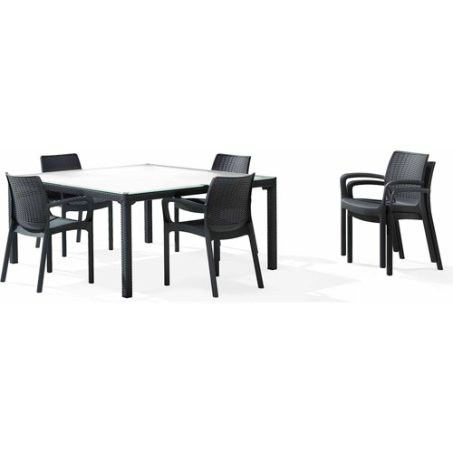 Keter Plastic Fiji Patio Table, All Weather Resin & Tempered Glass Patio Furniture,... by Keter