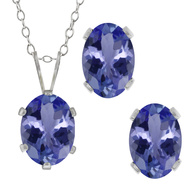 2.66 Ct Oval Blue Tanzanite Gemstone Sterling Silver Pendant Earrings Set