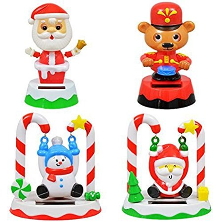 Christmas Solar Set of 4 Swinging Santa, Snowman, Drumming Bear and Bobblehead Santa ()