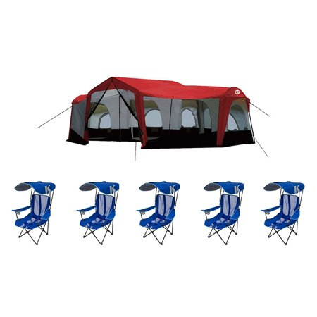 Tahoe Gear Carson 14 Person Cabin Tent + Kelsyus Folding Canopy Chair (5 Pack) ()