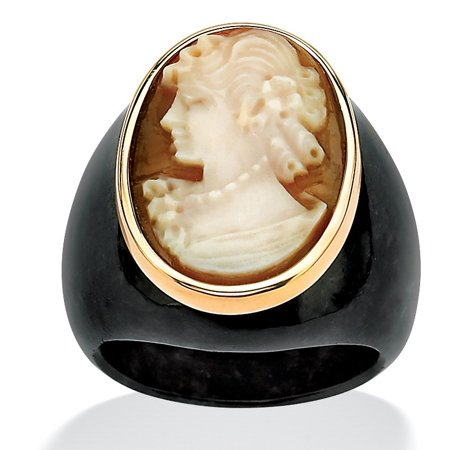 - Oval-Shaped Genuine Shell Cameo Genuine Onyx 10k Yellow Gold Classic Cameo Ring