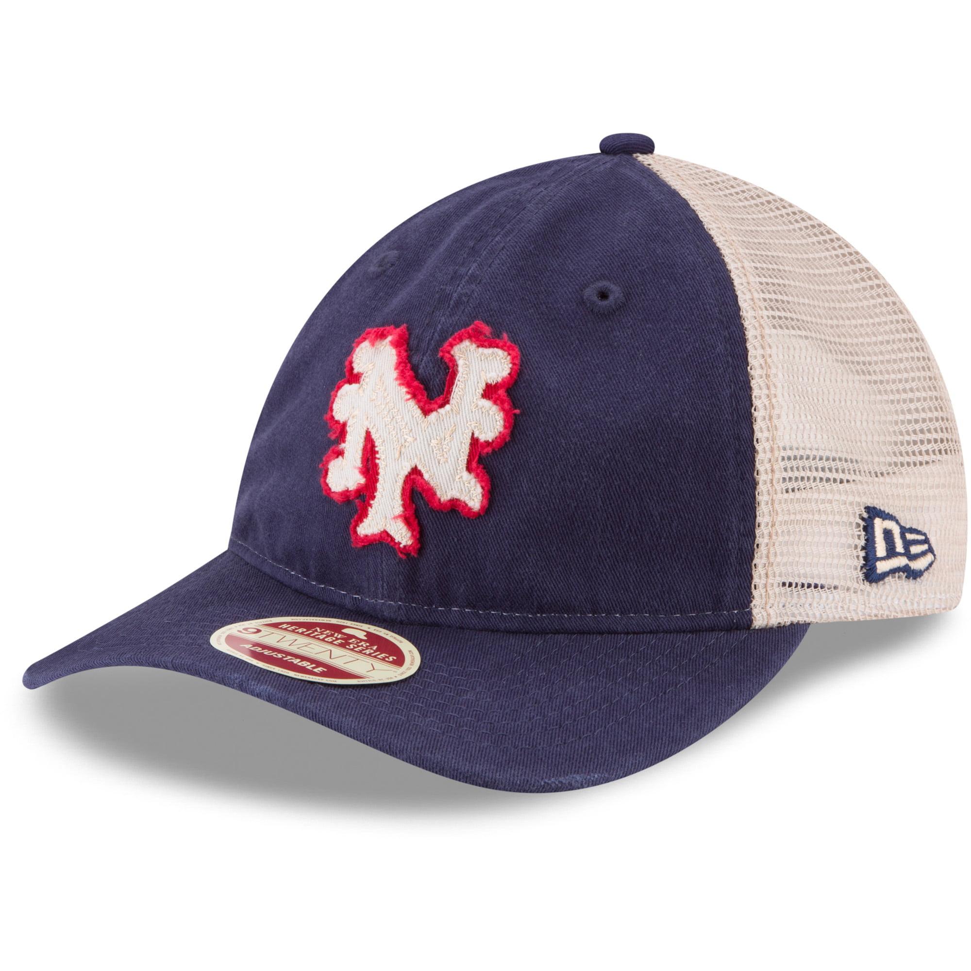 New York Mets New Era Frayed Twill Trucker 9TWENTY Adjustable Hat - Blue - OSFA
