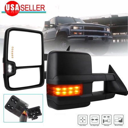 Fit for 88-98 Chevy GMC OBS C/K Pickup Towing Mirrors Power Signal Backup (Super Duty Pickup Mirrors)