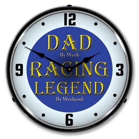 Dad by Week Racing Legend by Weekend LED Wall Clock, Retro/Vintage, Lighted, 14 inch