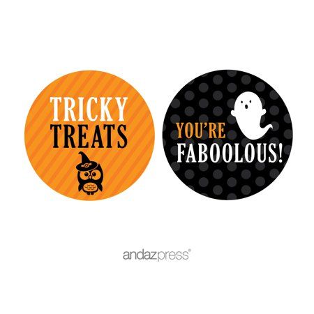 You're Faboolous Orange Black & Orange Halloween Thank You Circle Label Stickers, 40-Pack