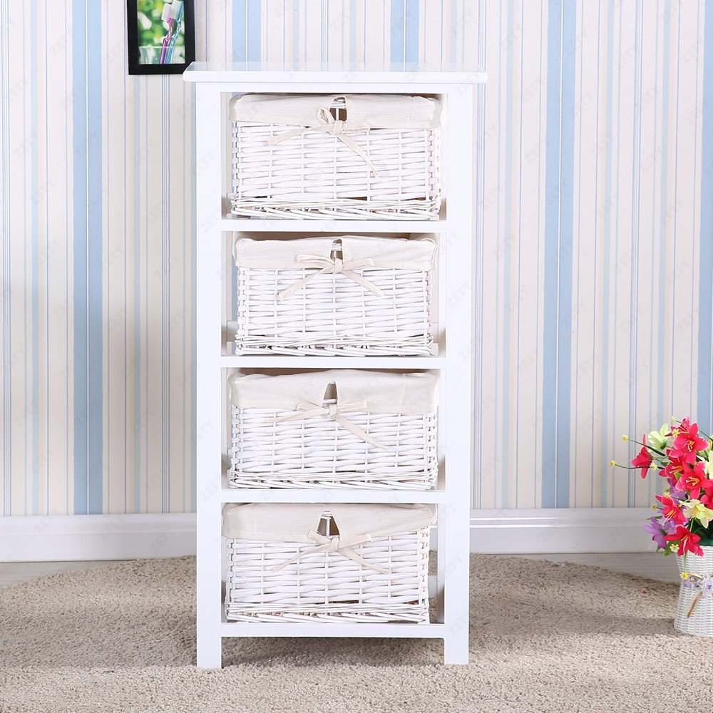 Mecor Retro White Nightstand End Side Bedside Table w/4 Wicker Basket Storage Wood