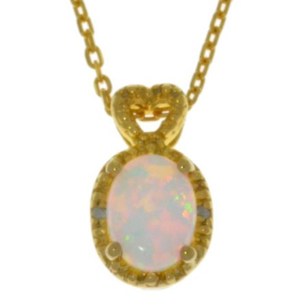 8x6mm Oval Ring Setting (8x6mm Opal & Diamond Oval Heart Pendant 14Kt Yellow Gold Plated )