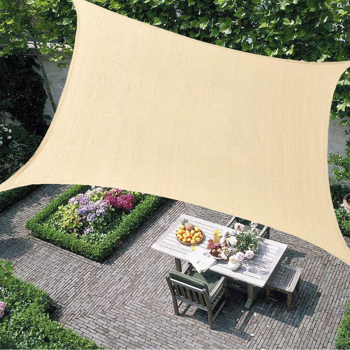 8 X 10 Sun Shade Sails Canopy Rectangle Heavy Duty Sunshade Fabric Awning Shelter 95 Uv Blockage For Patio Outdoor Garden Light Beige Walmart Com Walmart Com