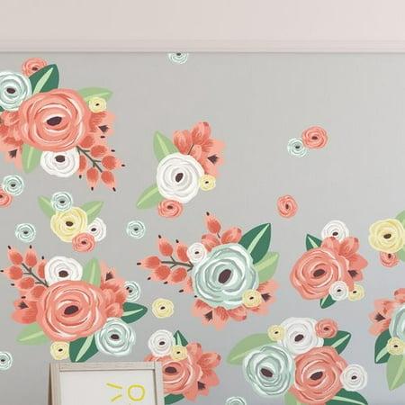 ff3b36fbce Urban Walls 29 Piece Graphic Flowers Wall Decal Set - Walmart.com