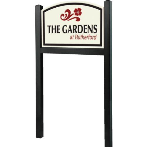 All in One Sign System with 6' Black Posts, V Groove Routed,