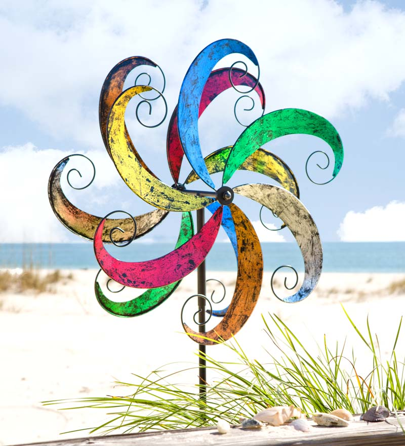 Colorful Waves Metal Wind Spinner for Gardens by Problem Solvers
