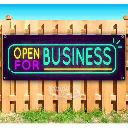 Neon Open For Business 13 oz heavy duty vinyl banner sign with metal grommets, new, store, advertising, flag, (many sizes available)