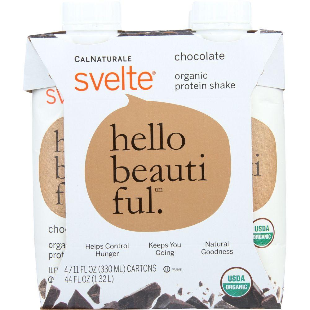 Svelte Protein Shake, Organic, Chocolate, 4/11 Fl Oz Cartons
