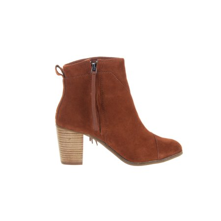 TOMS Lunata Fringe Ankle Booties, Cognac Suede - image 3 of 5