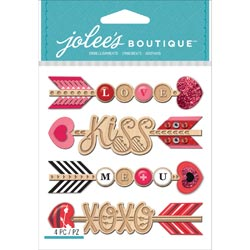 Bulk Buy: Jolee's (3-Pack) Boutique Dimensional Stickers Heart Arrows E5021749