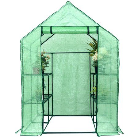 COSTWAY Serre de Jardin Tente de Plante Serre à Tomates Tissu de PE Verte  143 x 143 x 195 cm avec Une Porte