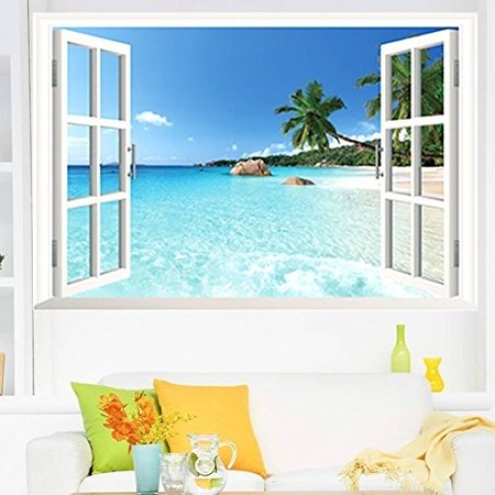 Large Removable Beach Sea 3d Window Decal Home Decor Exotic Beach