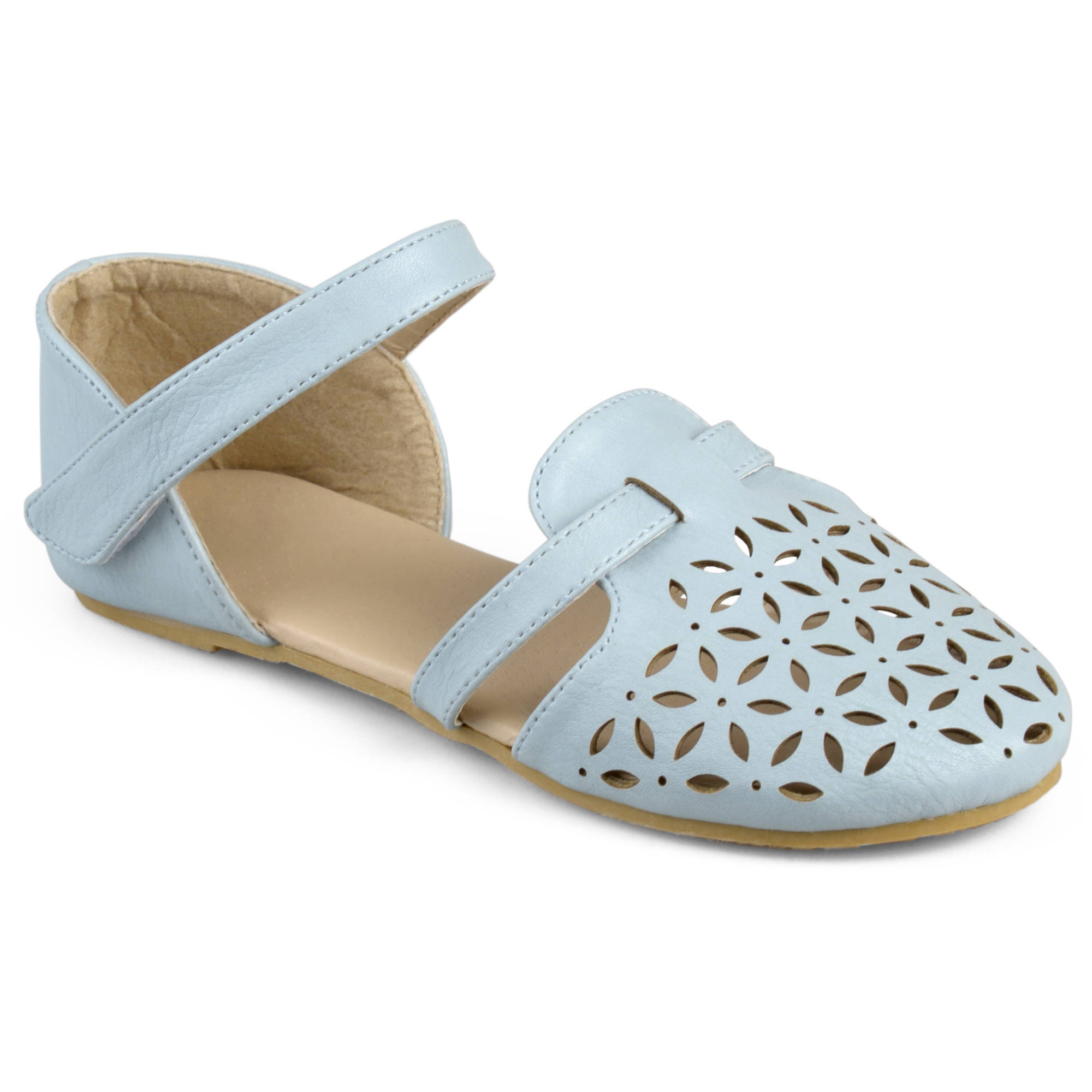 Brinley Kids Little Girl Faux Leather Multi Strap Laser Cut Flats