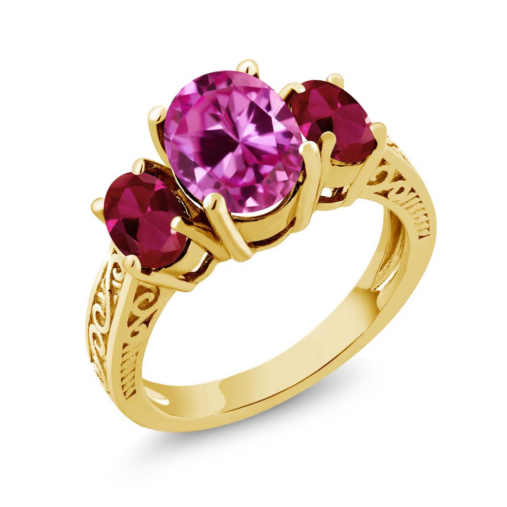 3.76 Ct Oval Pink Created Sapphire Red Created Ruby 18K Yellow Gold 3-Stone Ring by Ruby Pins