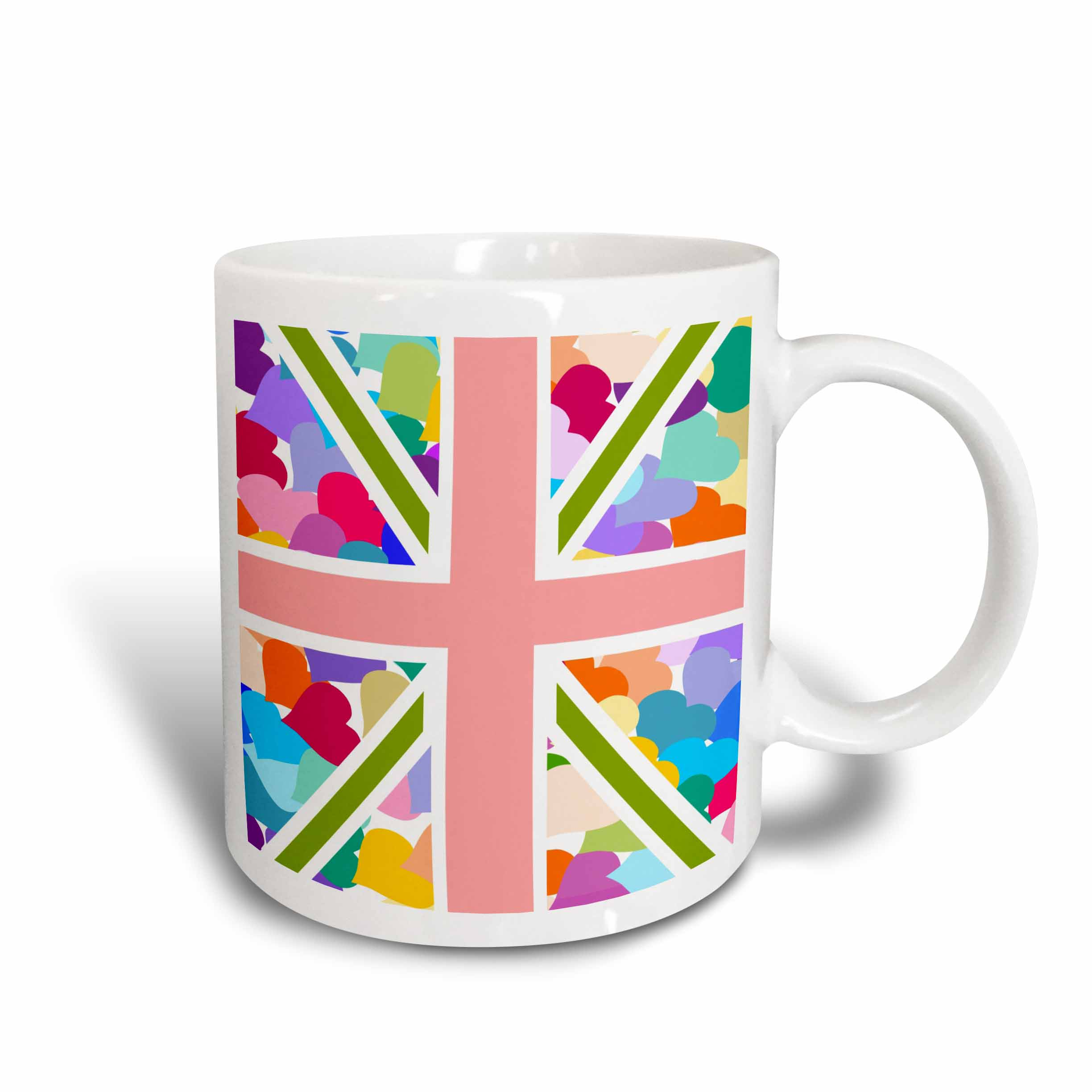 3dRose Colorful Cute Hearts Pattern Union Jack English Flag - Girly Great Britain United Kingdom England, Ceramic Mug, 15-ounce