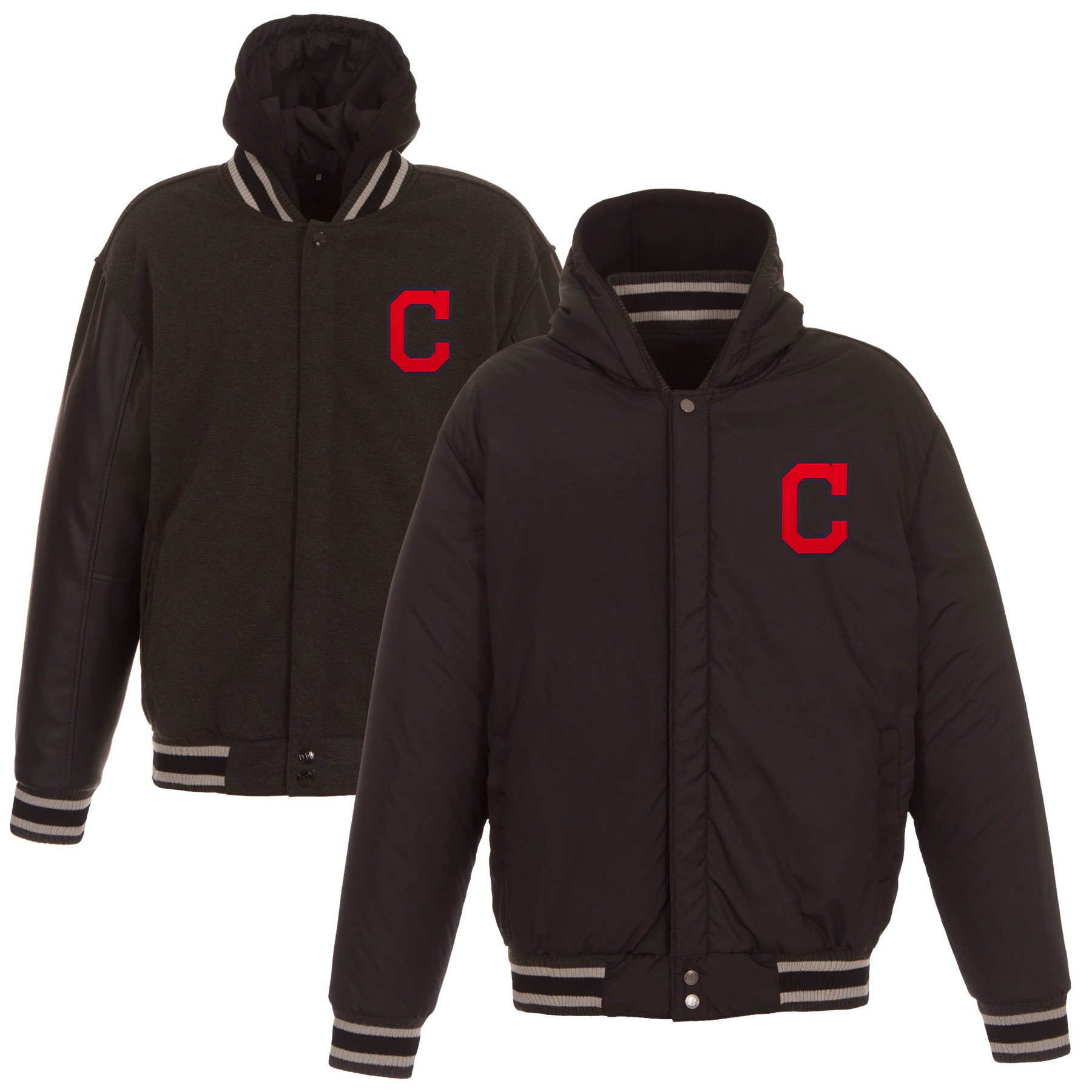 Cleveland Indians JH Design Heavyweight Reversible Full Snap Hoodie - Charcoal
