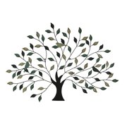 Tri-Tone Birds In Branches Metal Tree Wall Sculpture